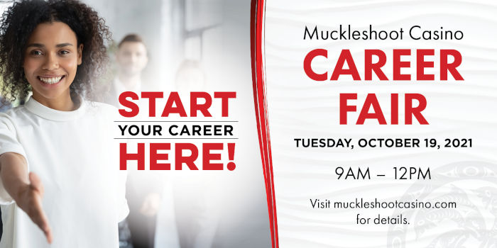 Career Fair, Tuesday October 19, 2021, at Muckleshoot Casino