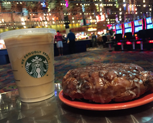 Chocolate Banana Fritter and Starbucks Iced Coffee at Muckleshoot Casino